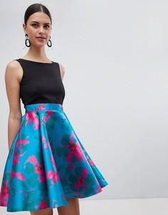 Короткое приталенное платье 2 в 1 Closet London - Мульти