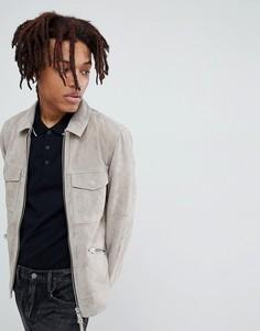 Серая замшевая байкерская куртка AllSaints - Серый