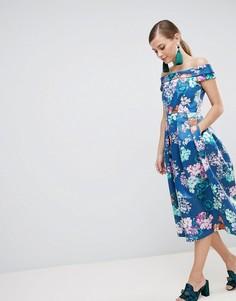 Платье миди с цветочным принтом Closet London - Синий