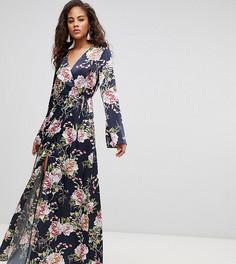 Темно-синее платье макси с запахом, длинными рукавами и цветочным принтом ASOS DESIGN Tall - Мульти