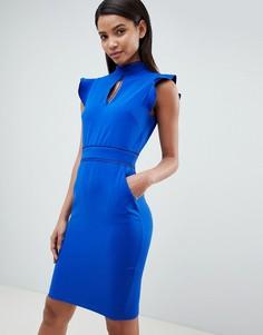 Платье с короткими рукавами и вырезом капелькой Paper Dolls - Синий