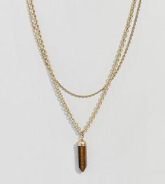 Ярусное ожерелье с подвеской тигровый глаз Uncommon Souls - Золотой