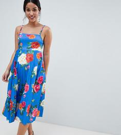 Платье миди для выпускного на бретельках с плиссировкой и цветочным принтом ASOS DESIGN Maternity - Мульти