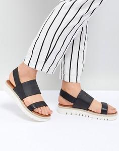 Черные кожаные сандалии с широкими ремешками ALDO - Черный