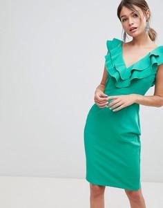 Платье-футляр с оборками на воротнике Paper Dolls - Зеленый