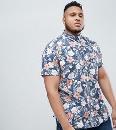 Рубашка с короткими рукавами и гавайским цветочным принтом Duke Plus - Темно-синий