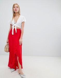 Юбка макси с запахом и оборкой New Look - Красный