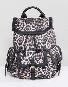 Рюкзак с леопардовым принтом и карманом спереди Yoki - Черный