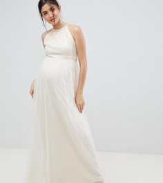 Кремовое платье макси с пайетками Little Mistress Maternity - Кремовый