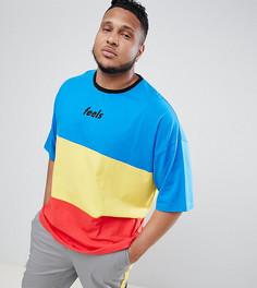 Oversize-футболка в стиле колор блок с надписью и рукавами до локтя ASOS DESIGN Plus - Мульти