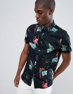 Узкая рубашка с короткими рукавами и принтом фламинго Ted Baker - Темно-синий