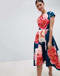 Платье миди с ярким принтом Closet London - Мульти