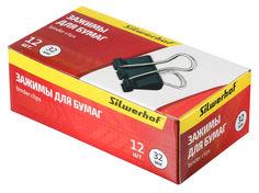 Зажимы Silwerhof 510004 сталь 32мм черный (упак.:12шт) картонная коробка