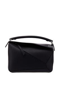 Черная кожаная сумка Puzzle Loewe