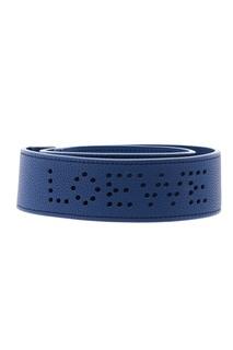 Синий кожаный ремень для сумки Loewe