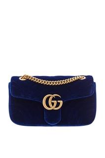Синяя бархатная сумка на цепочке GG Marmont velvet Gucci