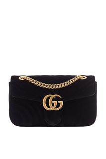 Стеганая бархатная сумка GG Marmont velvet Gucci