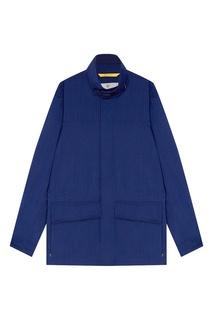 Синяя куртка из шерсти в клетку Canali
