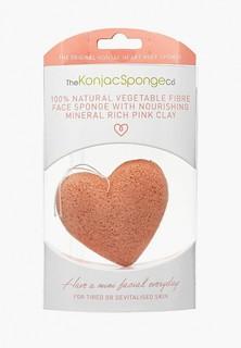 Спонж для очищения лица The Konjac Sponge Co Premium Heart Puff with French Pink Clay (премиум-упаковка)