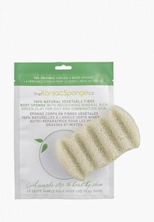 Спонж для тела The Konjac Sponge Co для мытья 6 Wave Body Konjac Sponge Green Clay