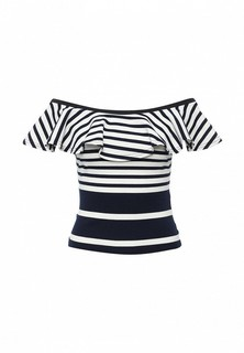 Топ LOST INK VARI STRIPE RUFFLE BARDOT