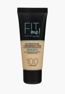 """Тональный крем Maybelline New York для лица """"Fit Me"""", матирующий, скрывающий поры, Оттенок 100, Фарфоровый, 30 мл"""