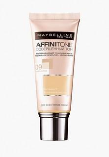 """Тональный крем Maybelline New York для лица """"Affinitone"""", выравнивающий и увлажняющий, с аргановым маслом, оттенок 09, Розово-опаловый, 30 мл"""