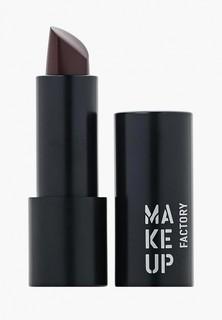 Помада Make Up Factory Устойчивая полуматовая для губ, тон 420 темный баклажан