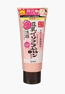 Пенка для умывания Sana и снятия макияжа увлажняющая с изофлавонами сои и коэнзимом