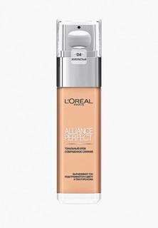 """Тональный крем LOreal Paris LOreal для лица """"Alliance Perfect, Совершенное слияние"""", выравнивающий и увлажняющий, оттенок D4, Золотистый 30 мл"""