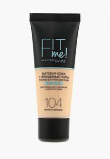 """Тональное средство Maybelline New York для лица """"Fit Me"""", матирующее, скрывающий поры, Оттенок 104, Ванильно-Бежевый, 30 мл"""