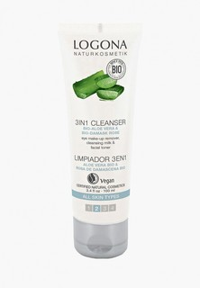 Средство для снятия макияжа Logona 3 в 1 с Био-Алоэ и Био-Дамасской Розой, 100 мл