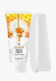 Набор для ухода за лицом Double Dare Honey Milk Drop очищающее молочко для лица + I.M. BUDDY массажная силиконовая щетка, белая
