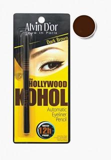 Карандаш для глаз Alvin Dor автоматический водостойкий HOLLYWOOD Тон 02 dark brown KOHOL