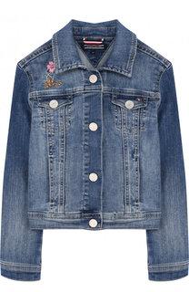 Джинсовая куртка с аппликациями Tommy Hilfiger