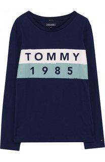 Хлопковый лонгслив с логотипом бренда Tommy Hilfiger