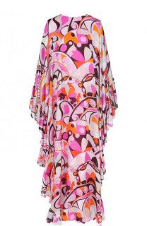 Шелковое платье-макси свободного кроя с оборками Emilio Pucci