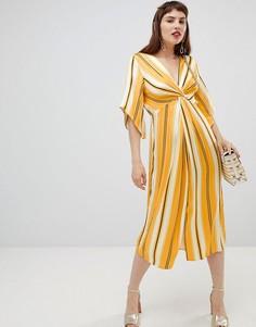 Свободное платье миди в полоску River Island - Желтый