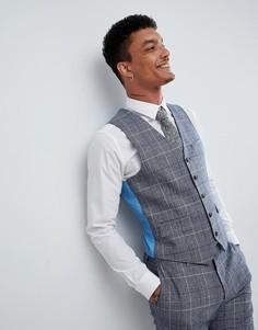 Клетчатый жилет узкого кроя из ткани с добавлением шерсти Harry Brown Wedding - Синий
