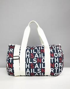 Большая сумка дафл со сплошным принтом логотипа North Sails - Темно-синий