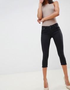 Черные выбеленные джинсы скинни капри с заниженной талией ASOS DESIGN Whitby - Черный