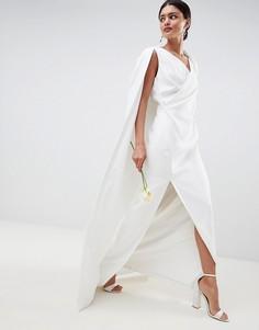 Платье макси с кейпом ASOS EDITION - Белый