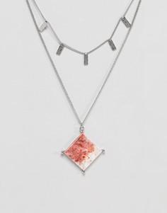 Ожерелье с камнями из переработанного хлопка с мраморным эффектом ASOS - Серебряный