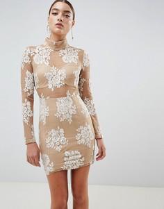 Облегающее платье с вырезами и шнуровкой Missguided - Белый