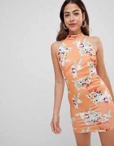 Платье с халтером и принтом Missguided - Оранжевый