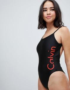 Слитный купальник с логотипом Calvin Klein - Черный