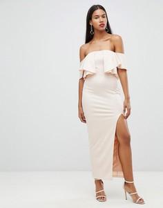 Платье макси с открытыми плечами Rare - Кремовый