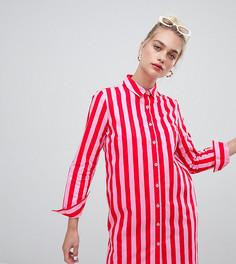 Oversize платье-рубашка в полоску Daisy Street - Розовый
