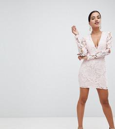 Кружевное платье мини с глубоким вырезом Missguided - Розовый