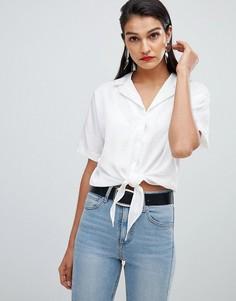Жаккардовая блузка с завязкой Selected Femme - Белый